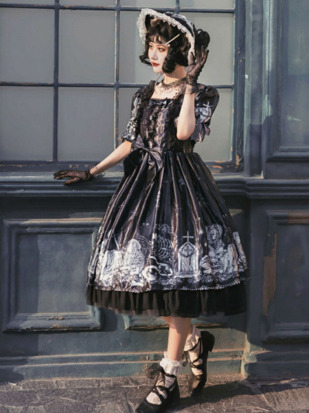 Milanoo Sweet Lolita OP Dress Soul Summoner Short Sleeve Bows Lolita One Piece Dresses