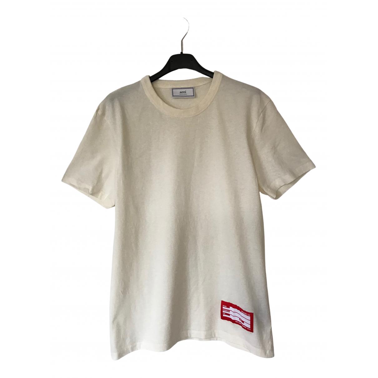 Ami - Tee shirts   pour homme en coton - ecru