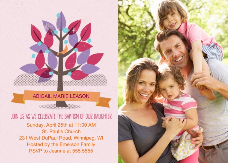 Baptism Invitations 5x7 Cards, Premium Cardstock 120lb with Elegant Corners, Card & Stationery -Girl Baptism Tree