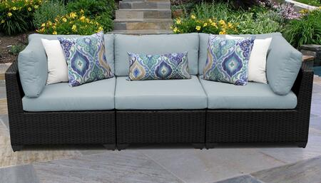 Belle Collection BELLE-03b-SPA 3-PC Patio Sofa with 2 Corner Chairs and 1 Armless Chair - Wheat and Spa