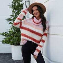 Block Stripe Turtleneck Slouchy Fuzzy Sweater