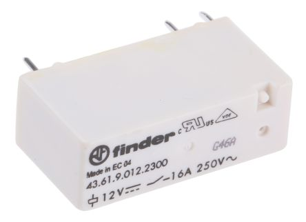 Finder , 12V dc Coil Non-Latching Relay SPNO, 16A Switching Current PCB Mount Single Pole