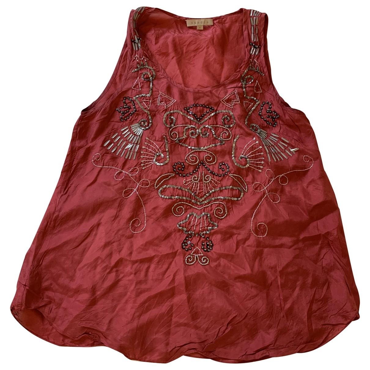 Sandro - Top   pour femme en soie - rouge
