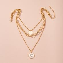 Halskette mit Scheibe Anhaenger