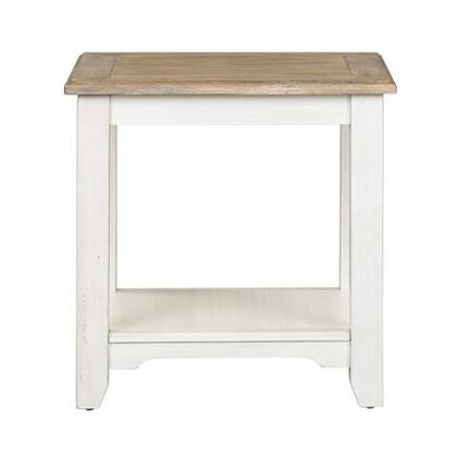 Summerville Collection 171-OT1020 End Table with Tapered Legs  Bottom Shelving For Storage and Consumer Friendly   Assembly in Soft White Wash Finish