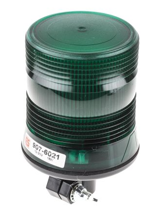 RS PRO Green LED Beacon, 10 → 30 V dc, Flashing, DIN Rail