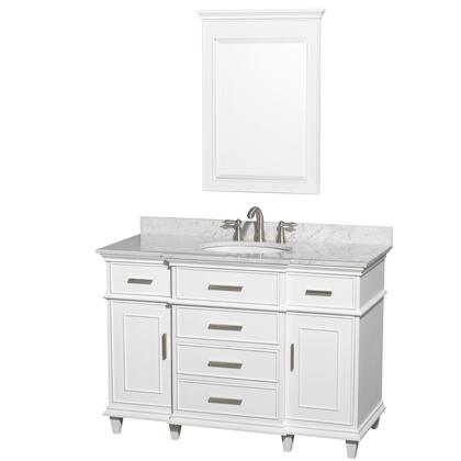 WCV171748SWHCMUNRM24 48 in. Single Bathroom Vanity in White with White Carrera Marble Top with White Undermount Oval Sink and 24 in.