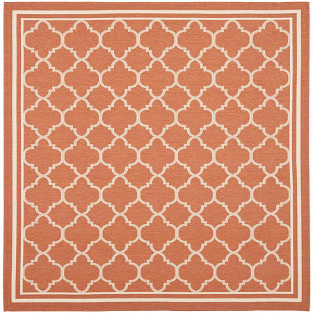 Safavieh Courtyard Collection Crispian Geometric Indoor/Outdoor Square Area Rug, One Size , Red