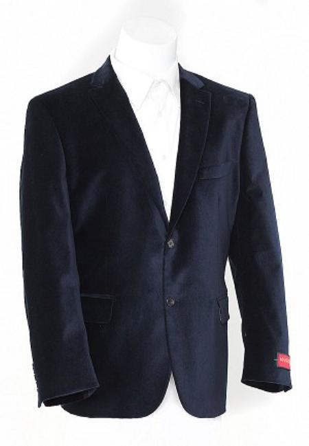 Mens Navy Blue 2 Button Velvet Sports Jacket