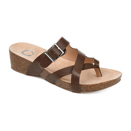 Journee Collection Womens Madrid Wedge Sandals, 10 Medium, Brown