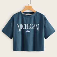 Letter Graphic Crop Top