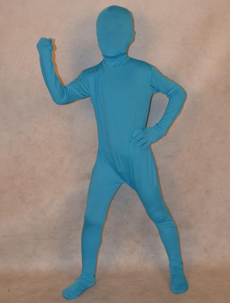 Milanoo Morph Suit Blue Lycra Spandex Zentai Suit for Kids Full Body Suit