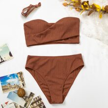 Bañador bikini de cintura alta bandeau girante