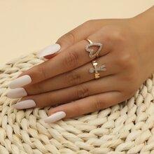 2 Stuecke Ring mit Strass und Herzen Dekor