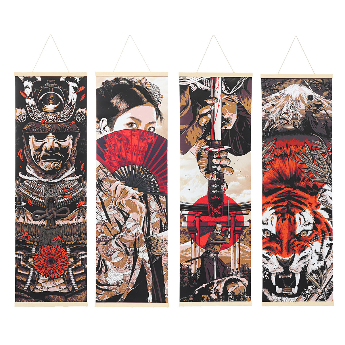 40x128CM Ukiyoe Canvas Paintings Wall Hanging Art Poster Home Decor Pictures