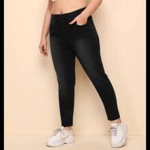 Crop Jeans mit elastischer Taille