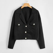 Drop Shoulder Lapel Neck Flap Pocket Jacket