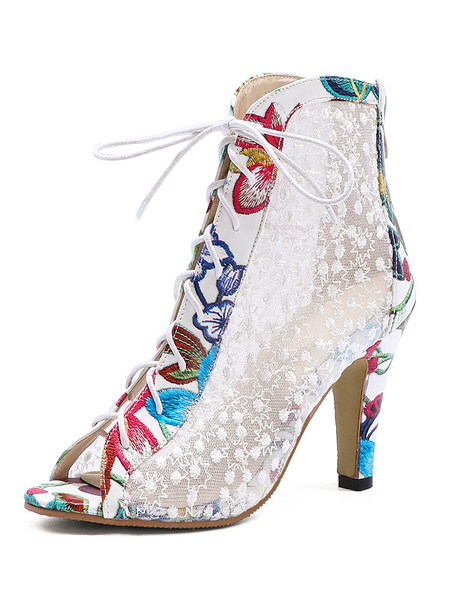 Milanoo Peep Toe Boots Mesh Lace Up High Heel White Booties