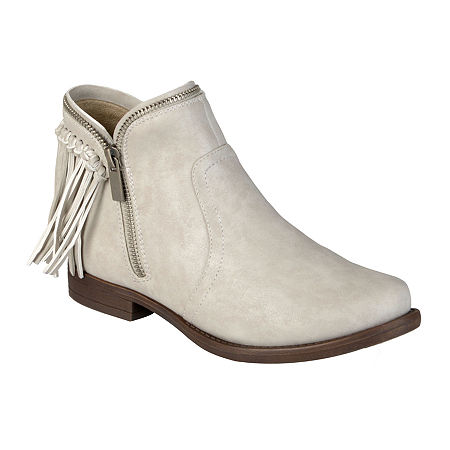 Journee Collection Fringe Womens Ankle Boots, 7 1/2 Medium, Beige