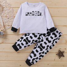 Schlafanzug Set mit Buchstaben und Kuh Muster