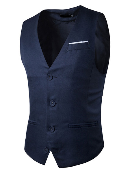 Milanoo Men Jacket Vest Dark Navy Single Breasted 3 Button Shaping Waistcoat