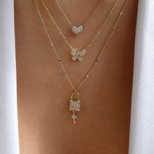 Mehrschichtige Halskette mit Strass und Herzen Dekor