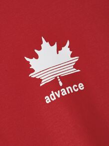 Men Maple Leaf & Letter Print Striped Sleeve Top