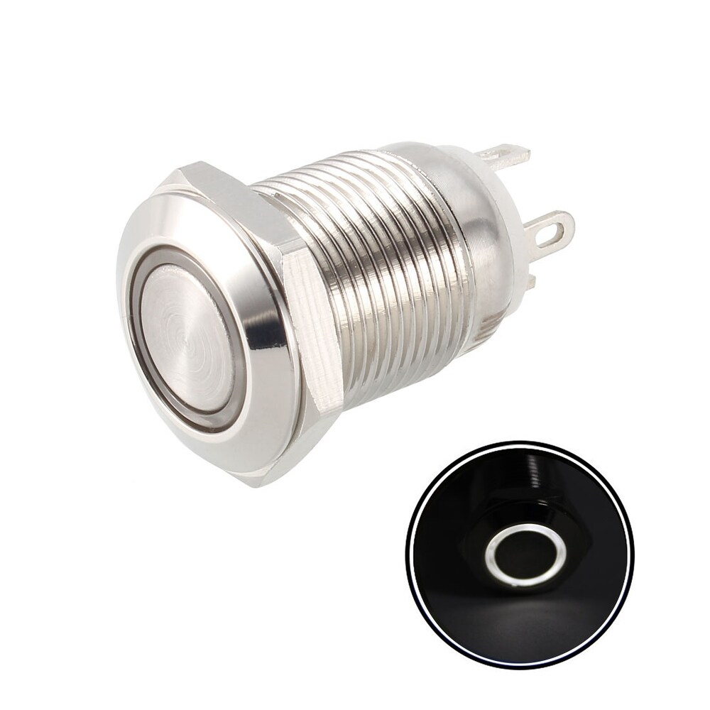 Momentary Metal Push Button Switch 12mm Mounting Dia 1NO 24V White LED Light (White)