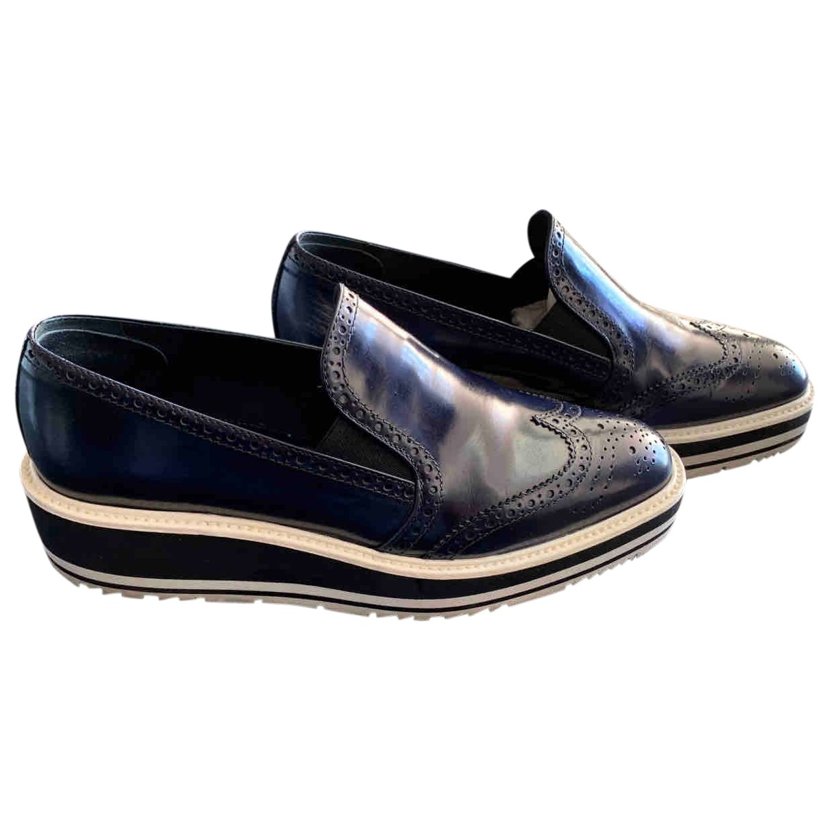 Prada \N Blue Leather Trainers for Women 38 EU