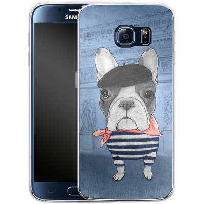Samsung Galaxy S6 Silikon Handyhuelle - French Bulldog with Arc de Triomphe von Barruf