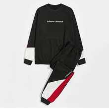 Sudadera de color combinado con estampado de letra con pantalones deportivos