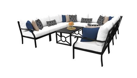 MADISON-11a-WHITE Kathy Ireland Homes and Gardens Madison Ave. 11 Piece Aluminum Patio Set 11a with 1 Set of Snow and 1 Set of Alabaster