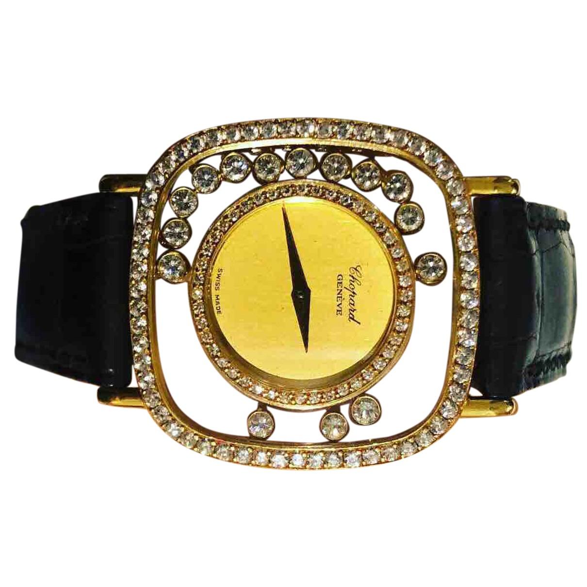 Chopard - Montre Happy Diamonds pour femme en or jaune - noir