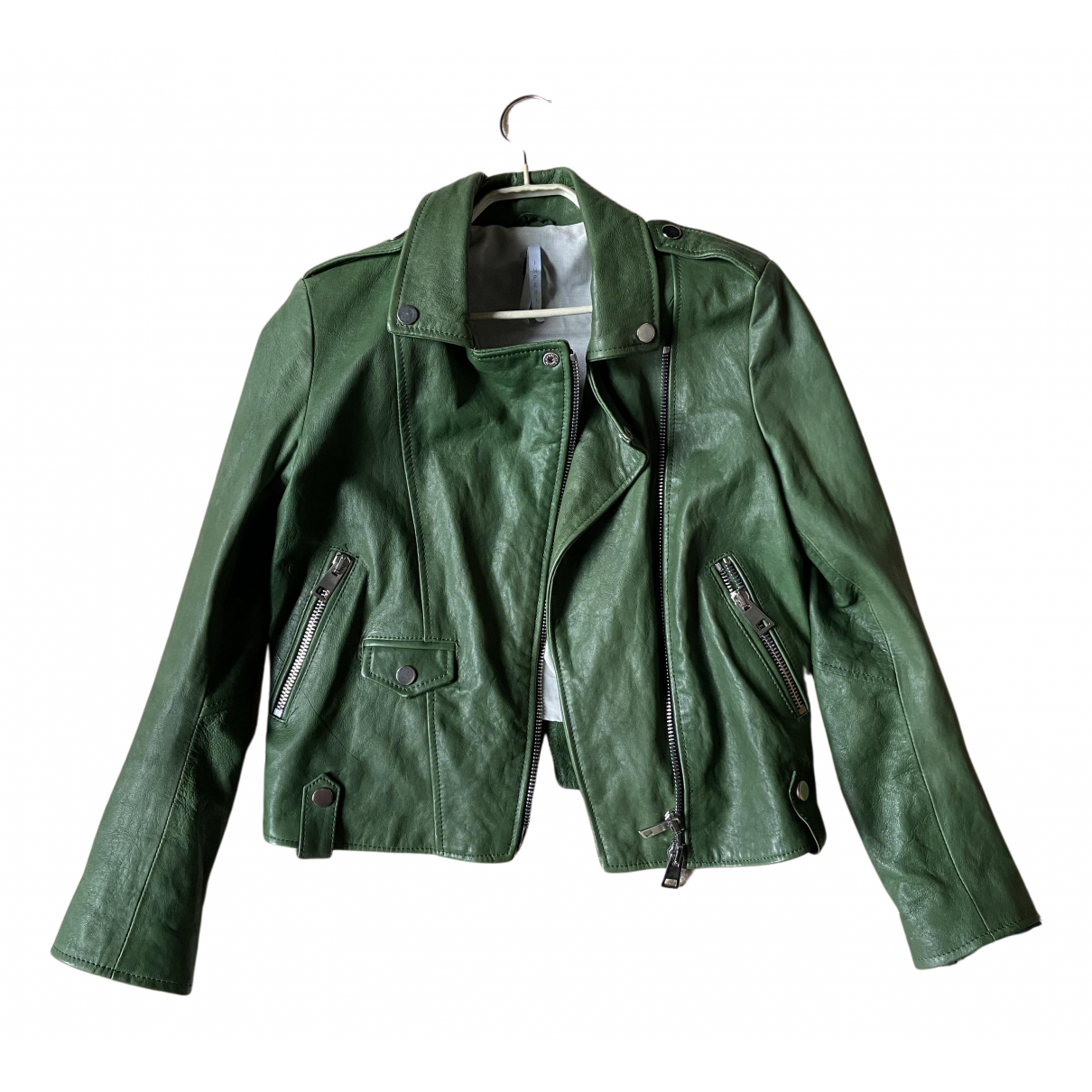 Non Signé / Unsigned N Green Leather jacket for Women S International