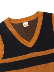 Chaleco jersey irregular con abertura de color combinado