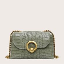 Croc Embossed Flap Crossbody Bag
