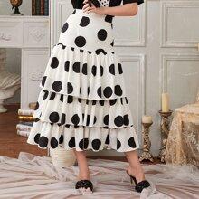 Polka Dot Layered Ruffle Hem Skirt