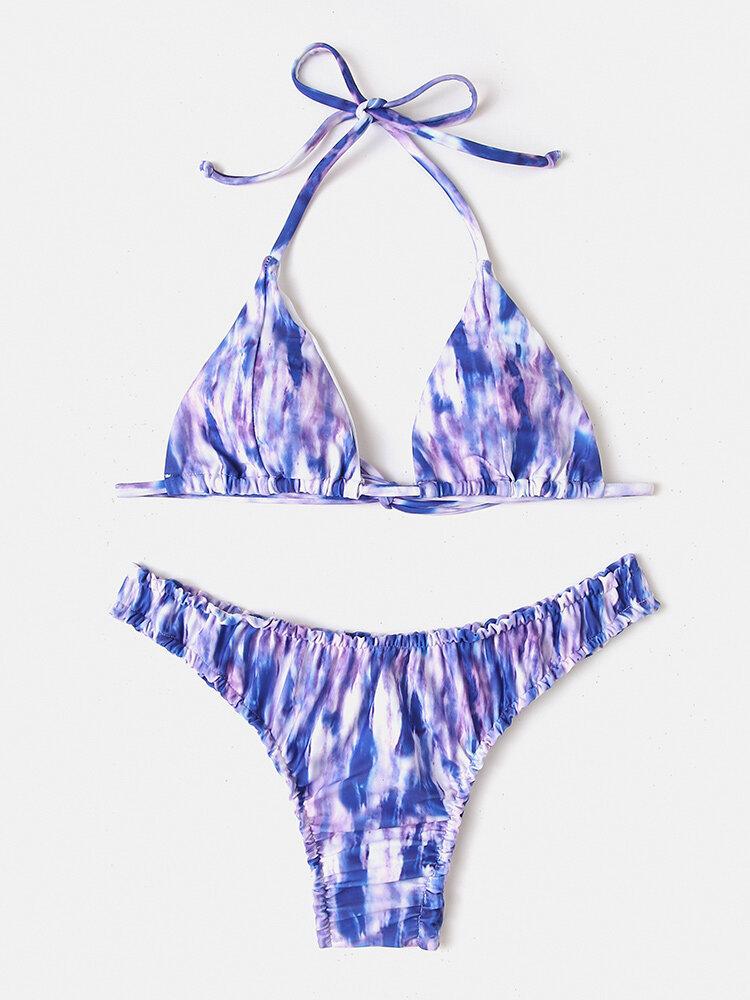 Women Tie-Dye Print Halter String Backless Bikinis Swimwear
