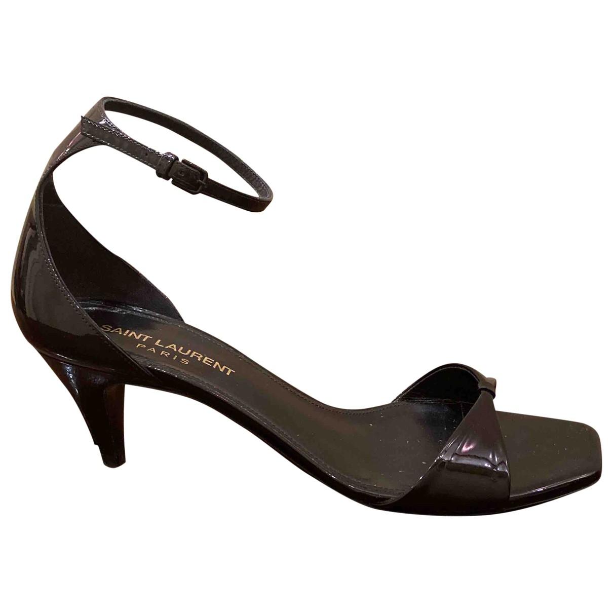 Saint Laurent \N Black Patent leather Sandals for Women 37 IT