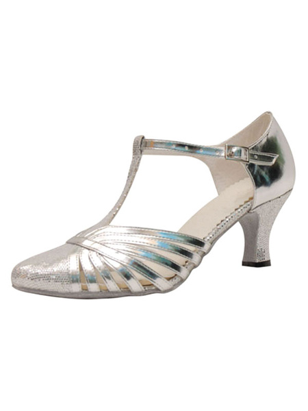 Milanoo Silver Ballroom Shoes Sequined Pointed Toe T Type 1920s Vintage Flapper Dress Latin Dance Shoes