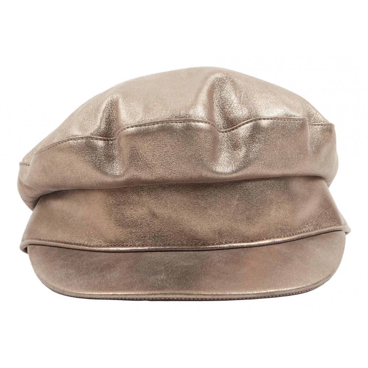Hermès N Gold Leather hat for Women 56 cm