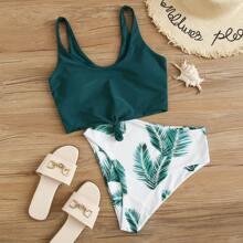 Bañador bikini tropical con nudo delantero