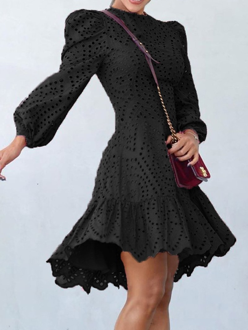 Ericdress Hollow Round Neck Nine Points Sleeve Sweet Spring Dress