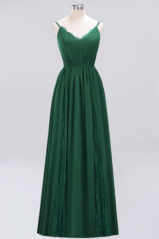 BMbridal Elegant Spaghetti Straps Long Bridesmaid Dress Lace V-Neck Maid of Honor Dress