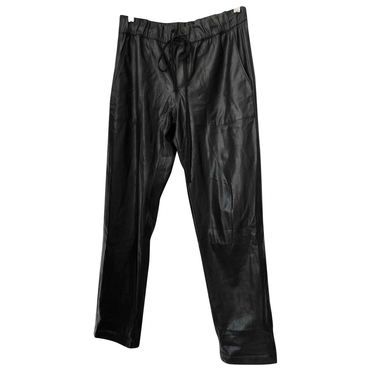 Enza Costa \N Black Leather Trousers for Women 2 US