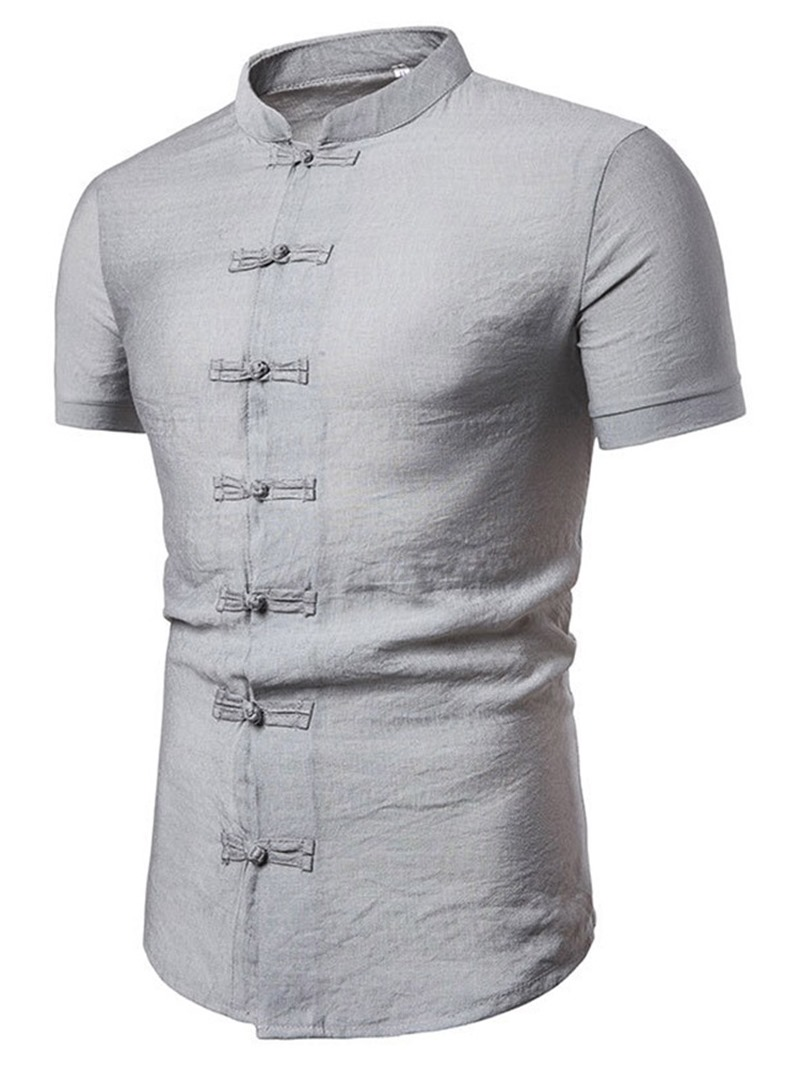 Ericdress Stand Collar Casual Plain Mens Single-Breasted Shirt