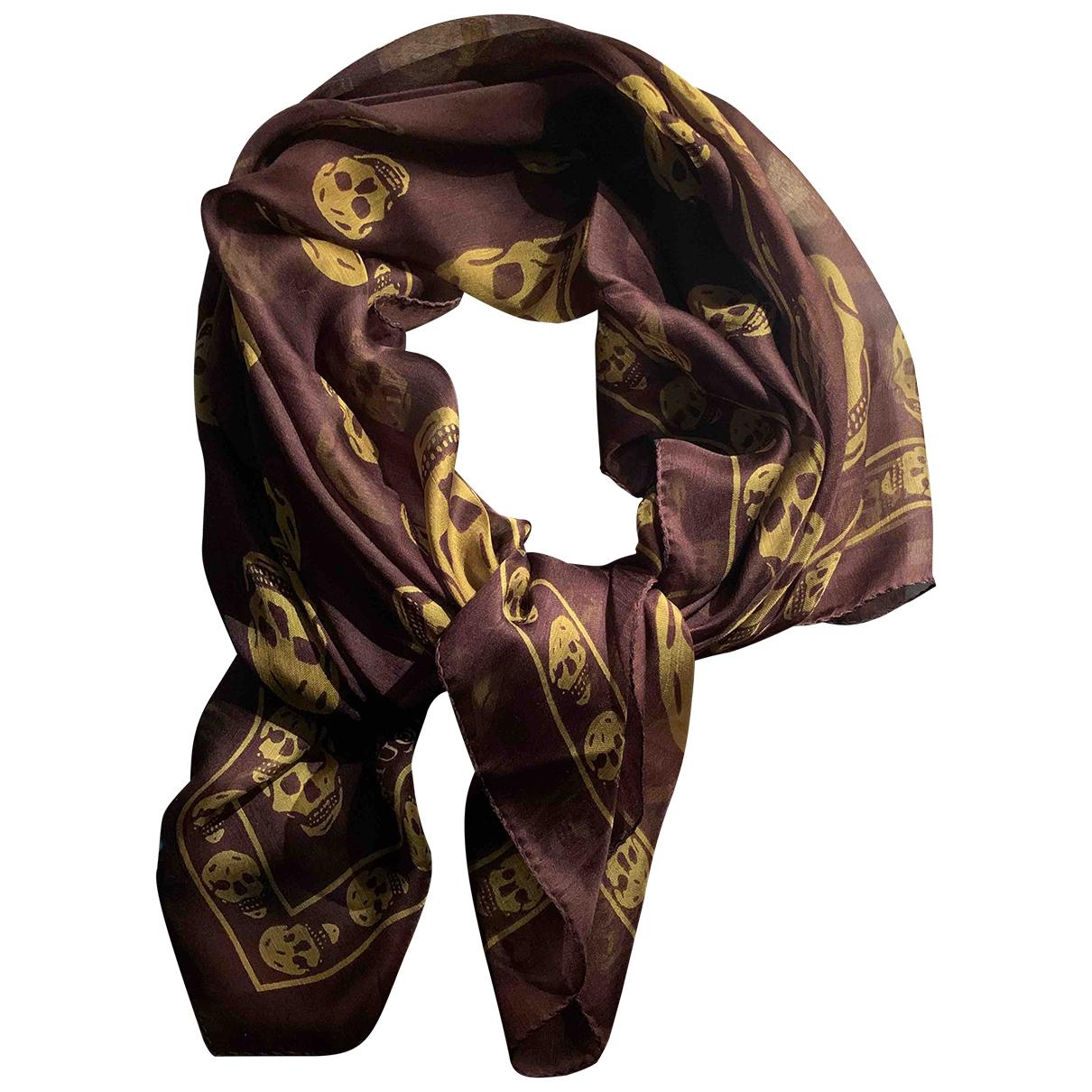 Alexander Mcqueen \N Brown Silk scarf for Women \N