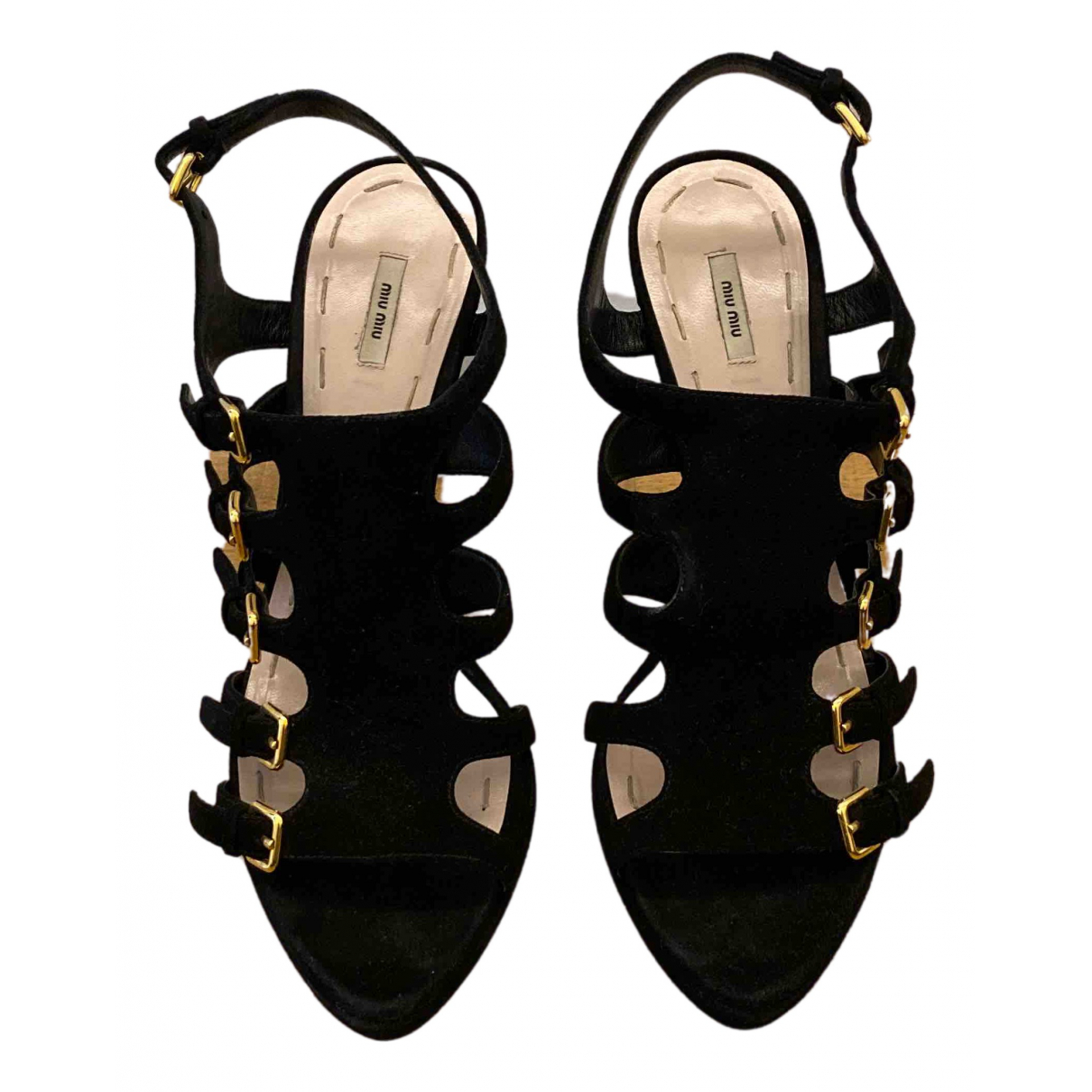 Miu Miu N Black Suede Heels for Women 40 EU