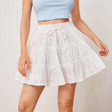 Frill Trim Schiffy Layered Skirt