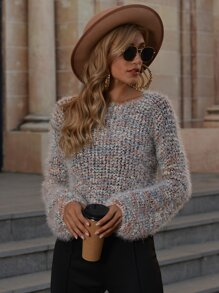 Drop Shoulder Fuzzy Knit Sweater